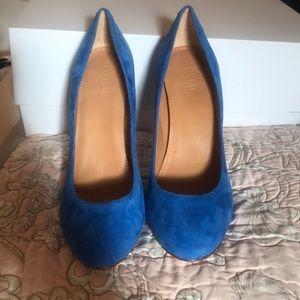 J Crew Blue Suede heels